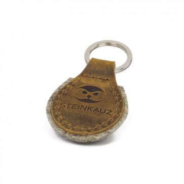 STEINKAUZ Schlüsselanhänger aus Leder und Filz