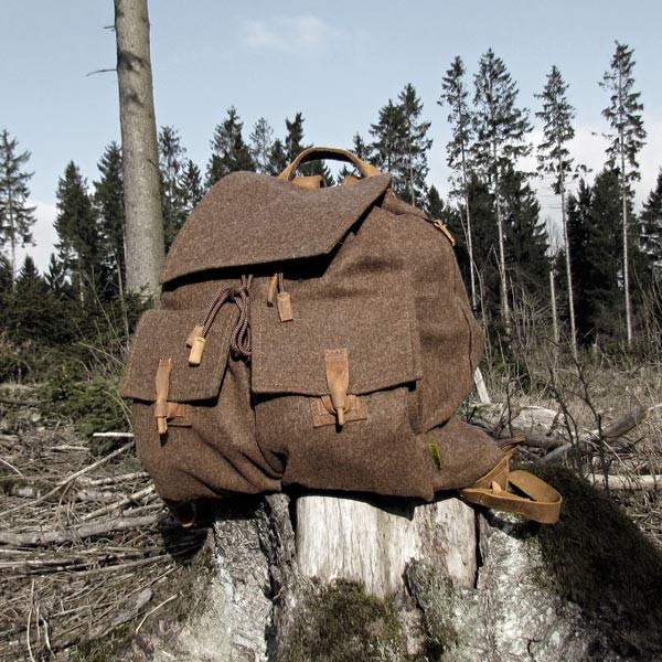 Fritzmann Jagdrucksack mit Lederriemen und Schweißeinlage lautlos aus Loden NEU
