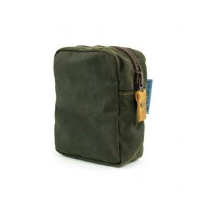 Modulus Reißverschlusstasche, Waxed Cotton, klein, Oliv