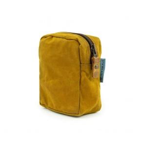 Modulus Reißverschlusstasche, Waxed Cotton, klein, Safran