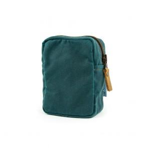 Modulus Reißverschlusstasche, Waxed Cotton, klein, Petrolblau