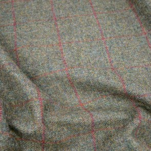 Tweed, schilffarben mit rotem Überkaro
