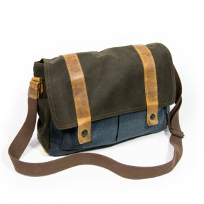 "Waxed Cotton Tasche ""Landeck"", Petrolblau"